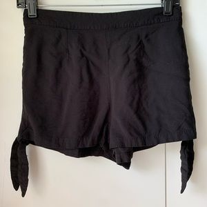 Black shorts with ties